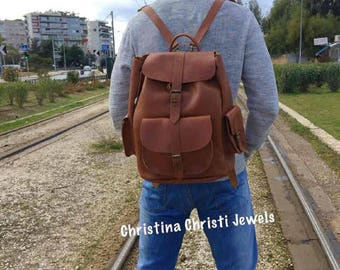Leather Backpack, Leather Rucksack, Brown Leather Backpack, Laptop Bag, Made in Greece from Full Grain Leather, EXTRA LARGE.