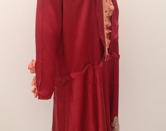 SOLD first payment for J 1920s flapper dress Art Deco maroon satin with embroidery vintage antique
