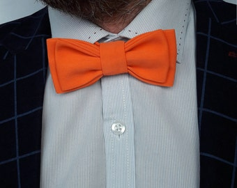 Orange bow tie  Bow tie for men Wedding bow tie Groom necktie Stylish bow tie Groom accessory Wedding photo props Gift for men