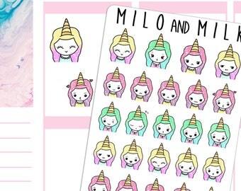 Unicorn Emoji Girls | Planner Stickers