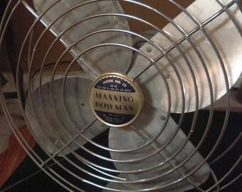 "Vintage Fan, Retro, 12"" inch Manning Bowman, Art Deco, 1950s, #52"