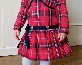 dress and red and black Plaid baby set