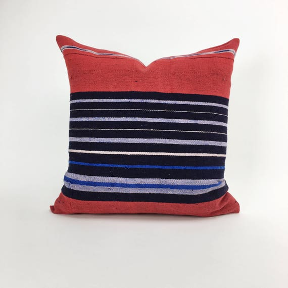 18 x 18 Red and Blue Striped Pillow Cover from Vintage Nigerian Cloth