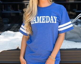 Gameday Varsity Tee Royal Blue...Preppy Football Tee..Fall..Varsity Stripes..Kentucky Basketball..UK..University of KY