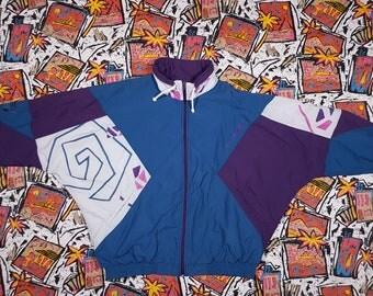 90s Colour Block Windbreaker, Size XL, Anorak, Geometric Shapes, Jumper, Streetwear, Tracksuit Track Jacket, Sportswear, Vintage