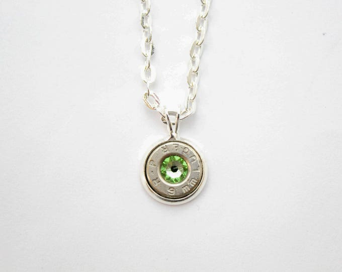 Featured listing image: Silver Dainty Bullet & Peridot Charm Necklace