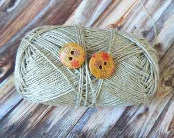 Artisan Wooden flower buttons Stud Earrings Yoga boho ethnic Beige brown jewelry flower Cute print floral ornament eco friendly Gift for her