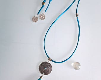 Lagoon Blue Suede necklace