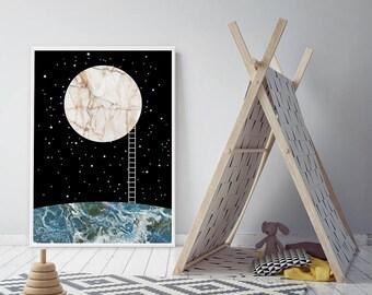 Moon Poster, Scandinavian Nursery Poster, Moon Art, Night Sky Print, Astronomy Wall Art, Black Marble Poster Large Framed Wall Art