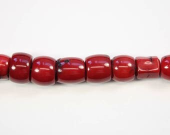 Gemstone Beads, Red Coral Beads, Loosely Barrel Cut Smooth Beads, Highly Polished Coral, DIY, BS249