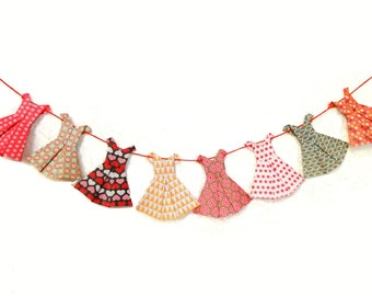 Garlands of dresses colorful origami home decor