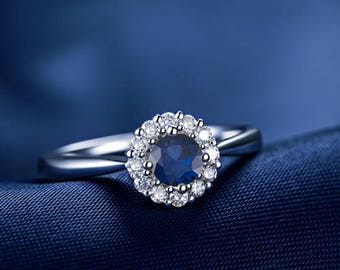 Round Blue Sapphire Engagement Ring 14k White Gold or Yellow Gold or Rose Gold Halo Blue Sapphire Ring Proposal Ring Anniversary Ring