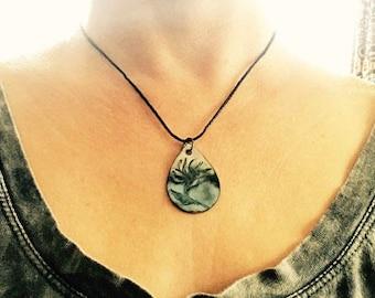 "Copper Enamel, Bird of Paradise flower, Choker Necklace, 15"""