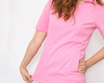 Vintage 60's pink Trevira blouse - 1960s 70s Tunic minidress - Hippie boho - sweet candy pink - flower power - short sleeve top - Size M / L