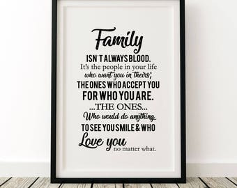 Word art - 'Family isn't always blood' A3 unframed print