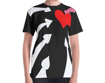 Black and White Red Heart Queen Women's T-shirt