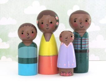 Black Peg Doll Family by Walter Silva - Heirloom Handmade Peg People Toys - African American Peg Doll Family