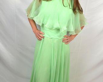 Miss Elliette 1960s 60s Green Pleated Ruffle Party Dress