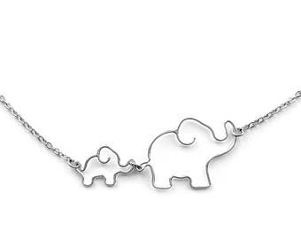 Elephant Necklace - New Mother Gift, Mom Jewelry, Mother Necklace Elephant Jewelry, Mom and Baby Elephant Necklace, Elephant Jewelry