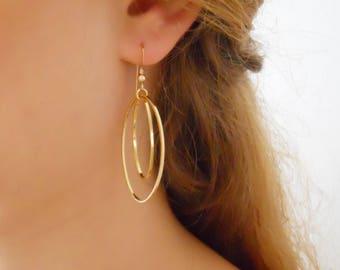 Gold Oval Earrings, Oval Hoops, Statement Boho Earrings, Gold Oval Hoop Earrings, Long Gold Earrings, Gold Dangling Earrings, #708