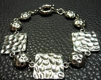 Beautiful Unique Designer Hammered Plated Silver Bracelet