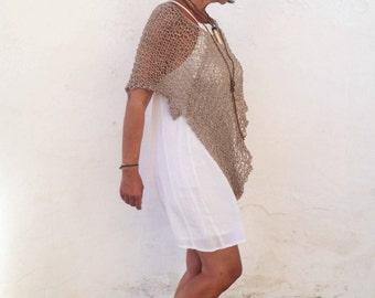 Boho chic poncho , summer knit poncho, beach boho cover, brown knit wrap, women ponchos