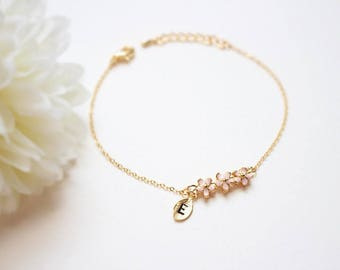 Cherry blossom bracelet, Pink flower bracelet, Sakura bracelet, Bridesmaid gift, Wedding bracelet, Initial bracelet, Letter, Personalized
