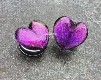 "Purple Dichroic Glass Heart Plugs (Large Gauge Size Photo) 10g 8g 6g 4g 2g 0G 00g  7/16"" 1/2"" 9/16"" 5/8"" 3/4"" 7/8"" 1""  3 mm - 25 mm"