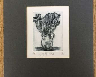 Jug of Tulips Print, Original limited edition etching, tulip etching, tulip print, tulip picture, limited edition print, original print