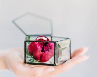 Wedding ring box Wedding ring holder Geometric glass box Ring bearer box Geometric ring box  Ring pillow Ring pillow  (JB16)