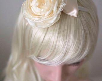 Ivory bridal headband | Bridal fascinator | Fabric flower headband | Fabric flowers