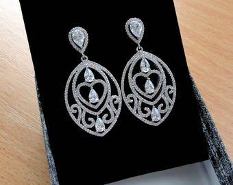 Bridal earrings Crystal Wedding earrings Bridal jewelry Wedding jewelry Chandelier earrings Dangle earrings Vintage wedding Leaf earrings Jm