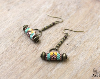 Earrings ethnic rustic Miyuki beads bronze • • • rustic multicolored handmade original jewelry Bohemian jewelry • • •