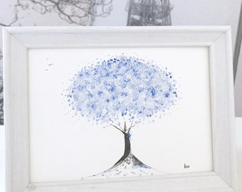 Blue Blossom Watercolour Painting: original blue watercolour painting, unique framed painting, blue watercolour gift, can be personalised!