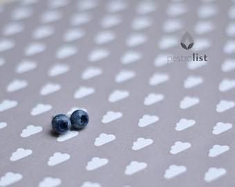 Blueberry stud earrings Polymer clay realistic narute berry jewelry