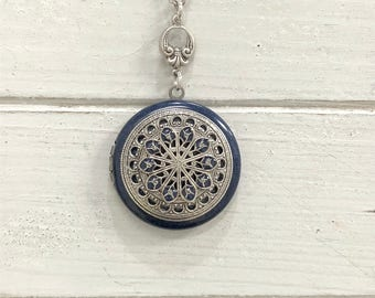Vintage style Locket Necklace- antique silver tone/mandala/Anniversary/Bridesmaid gift/Wedding/Birthday/Sister/Mom/Daughter/friend.