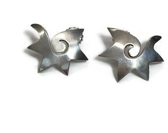 Taxco Earrings Silver Star Earrings Modernist Abstract Earrings Starburst Swirl Modernist Jewelry Posts