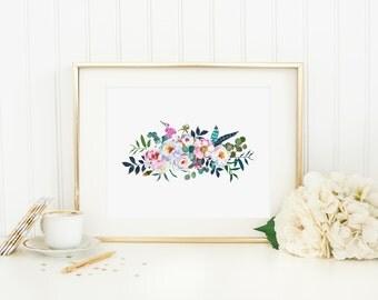Bohemian Floral Printable Boho Chic Floral Bouquet Boho Floral Nursery Decor Shabby Nursery Wall Art Watercolor Flowers Blush Teal Pink 285