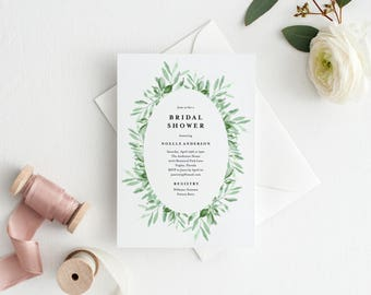 Editable Template - Instant Download Leafy Bridal Shower Invitation