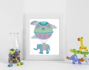 Nursery cross stitch pattern elephant,baby cross stitch pattern, cross stitch air balloon, modern cross stitch pattern PDF