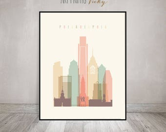 Philadelphia Poster Pastel Vertical Skyline Art Print | ArtPrintsVicky.com