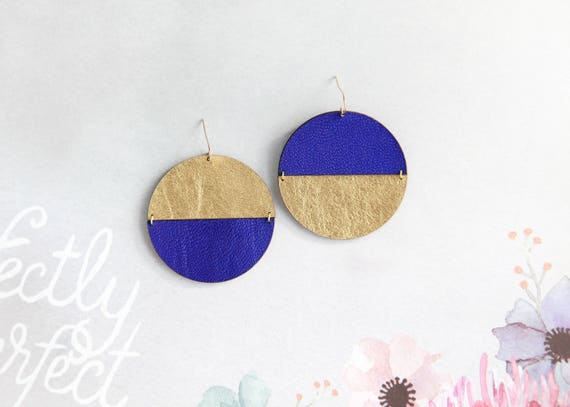 Large mismatched disc leather earrings- blue and gold circle earrings- modern and minimalist earrings- big statement drop earrings