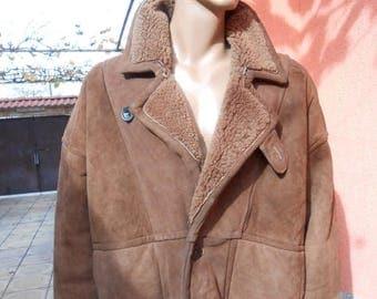 ON SALE Vintage brown  shearling jacket, mens jacket, warm winter jacket, fur coat shearl jacket, winter leather coat man, man fur coat shee
