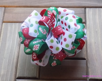 Large Christmas Loopy Puff Bow