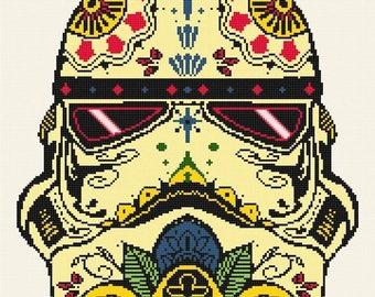 Stormtrooper Cross Stitch Pattern sugar skull pattern star wars pattern korss -180 x 190 stitches - INSTANT Download - B1066