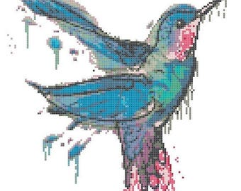 Watercolor Hummingbird Cross Stitch Pattern Pdf watercolor pattern Hummingbird chart - 124 x 156 stitches - INSTANT Download - B1488