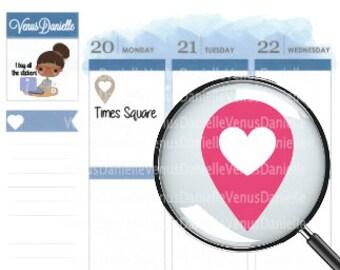 Location Heart Planner Stickers, Location Sticker, Geo Tracker stickers