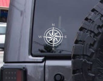 Compass Rose decal, nautical decal, sailing, boating, navigation decal,  laptop decal, FREE SHIPPING, White vinyl decal, home decor #141