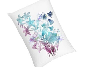 Flowers - Luxury Velvet Watercolour Cushion , Water Colour Case Cover or Case & Filling