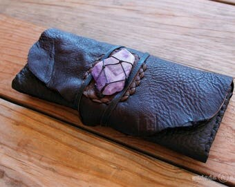 Handmade Upcycled Deerskin Leather 14 Card Fold Over Clutch Wallet with Polished Chevron Amethyst Slice in Knotted Basket